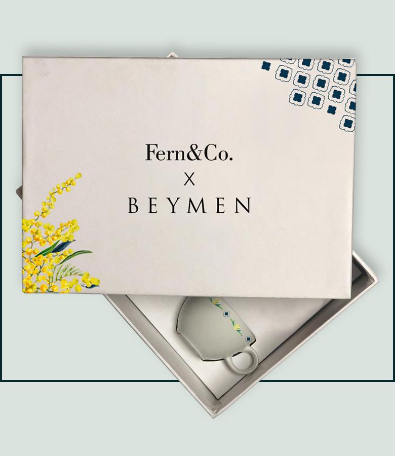 Fern&Co. x Beymen Mimosa Collection 2'li Porselen 2li Türk Kahvesi Fincan Seti
